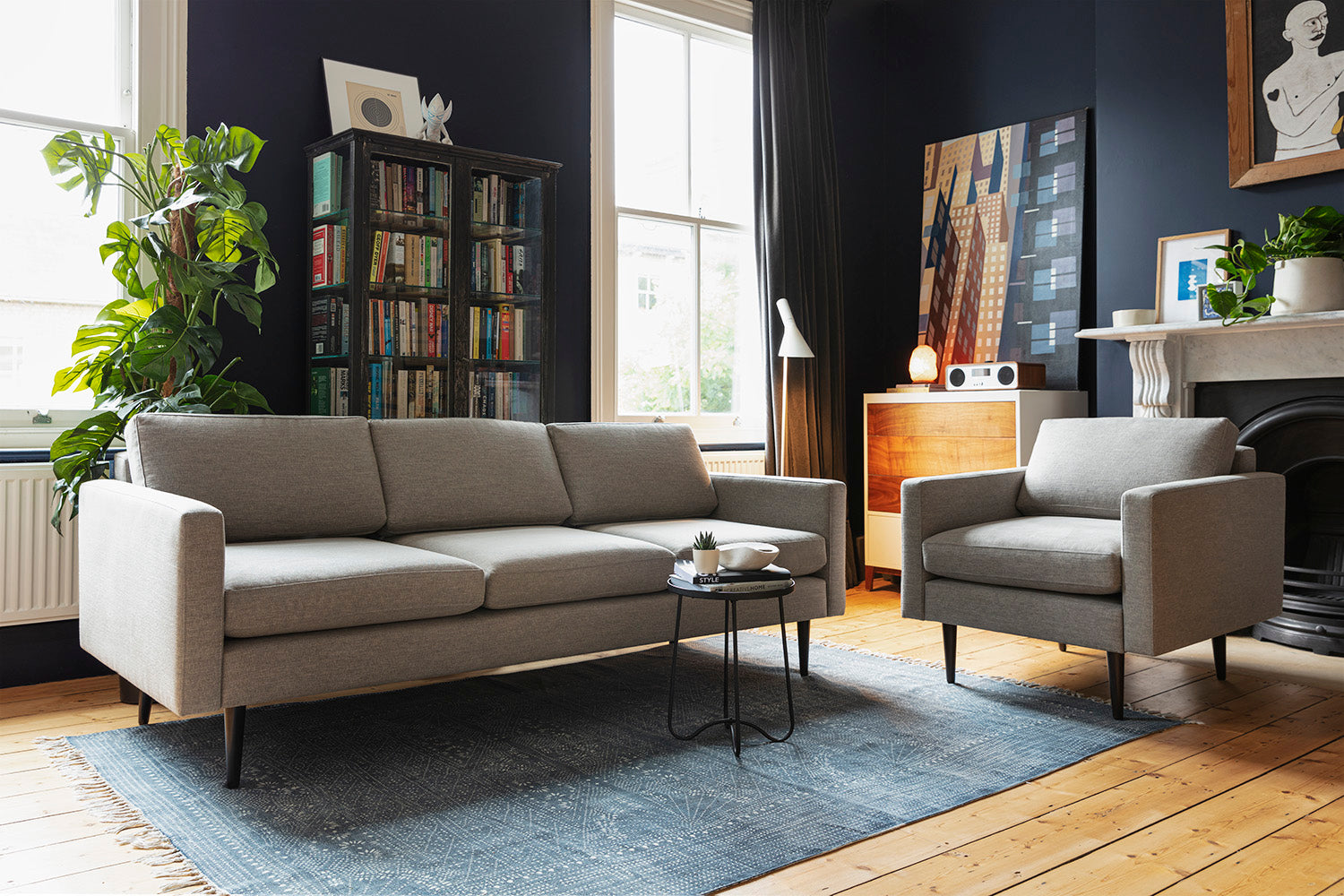 Swyft | Model 01 Linen 3 Seater Sofa | Shadow