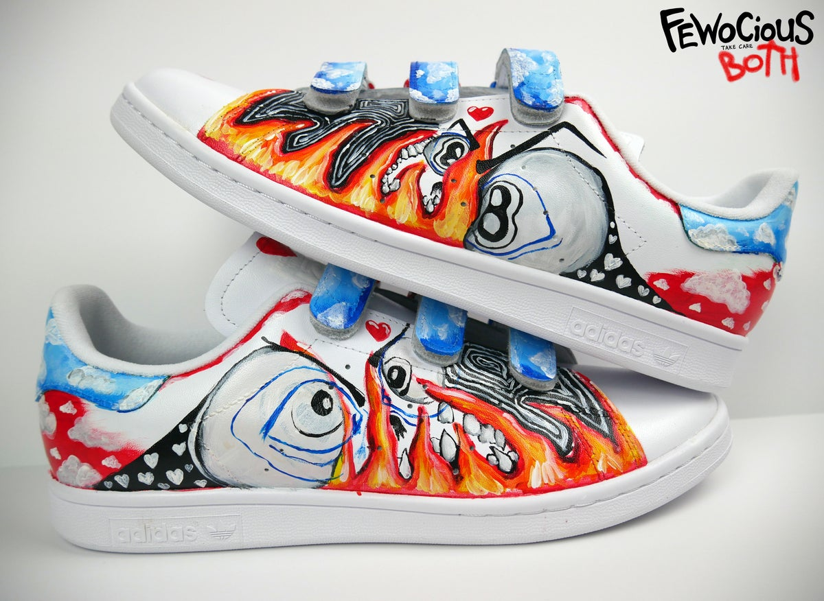 love, clouds & fire. custom painted shoe