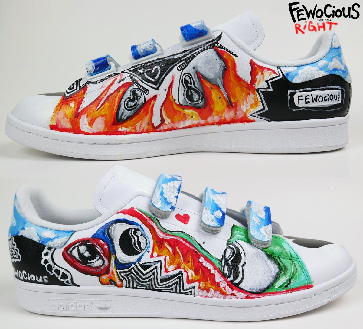 Lucky Green & fire. custom painted shoe
