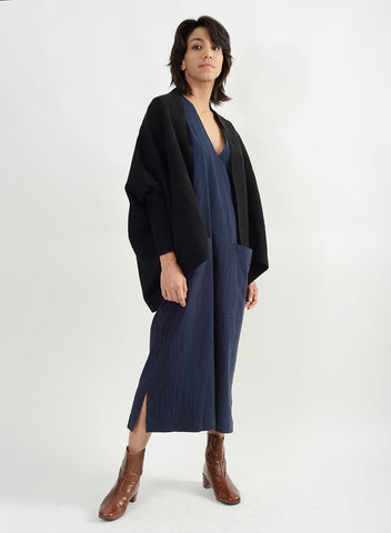 Basic Cape Cardigan - Black