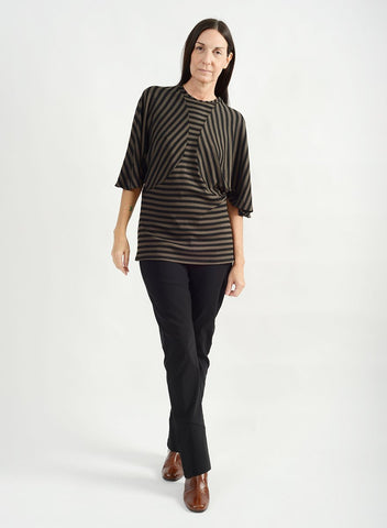 Batwing Top - Olive Stripe