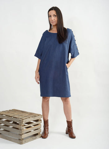 Button Shoulder Shift - Blue