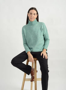 Cozy Mock Neck Sweater - Peppermint