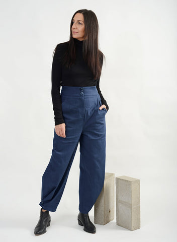 High Waisted Button Jean - Blue