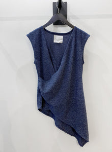 Asymmetrical Sleeveless Ribbed Sweater (Blue) L