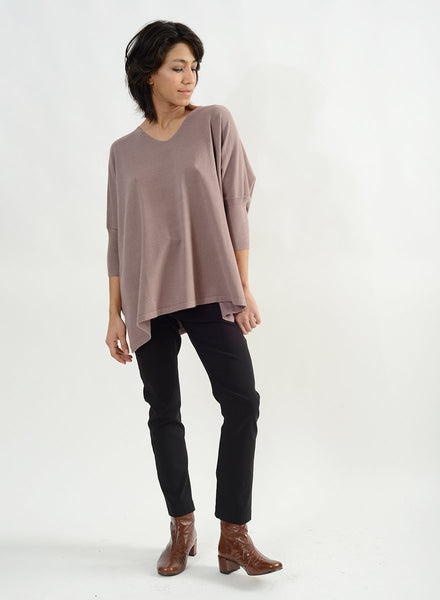 Ribbed Half Sleeve V Neck Sweater - Taupe