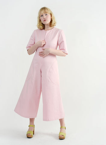 Round Pocket Jumpsuit - Pink