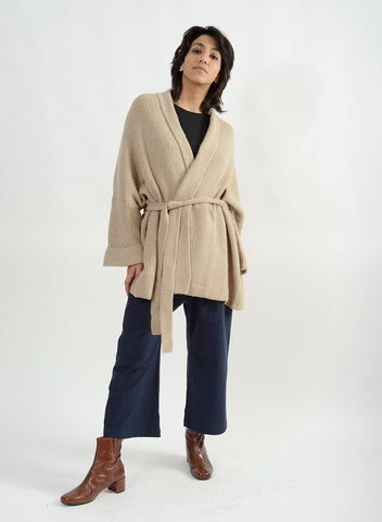 Shawl Belted Cardigan - Taupe