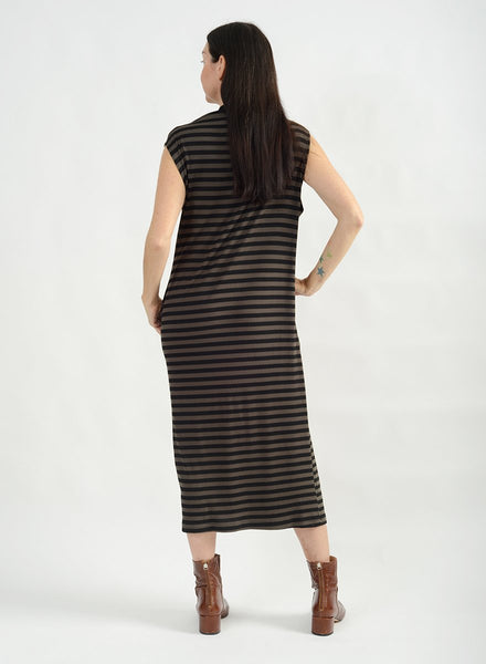 Shoulder Pleat Dress - Olive Stripe