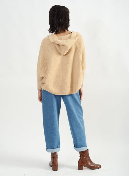 Side Ribbed Hoodie Cape Cardigan - Camel