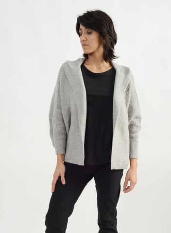 Side Ribbed Hoodie Cape Cardigan - Grey