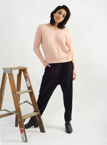 Basic V Neck Sweater - Blush