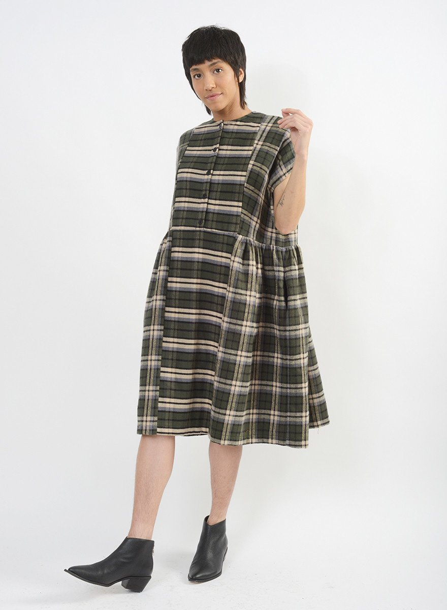 Flannel Cairo Dress - Forest
