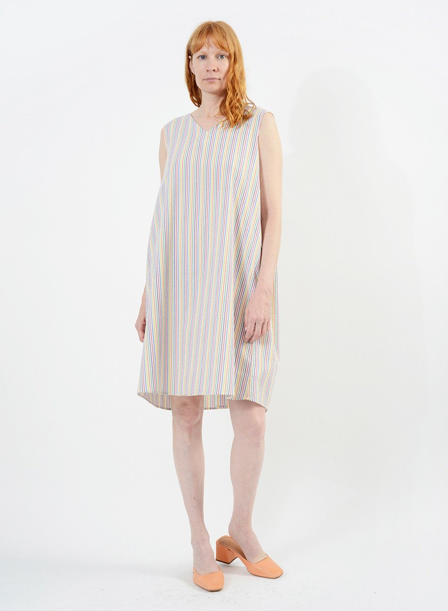 Gathered Back Babydoll Dress - Rainbow Seersucker