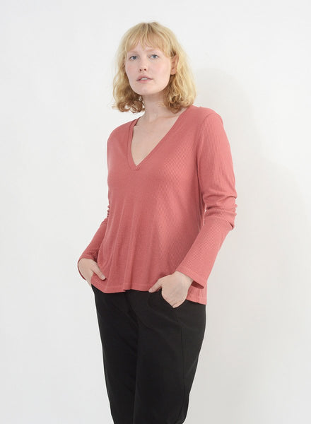V Neck Shirt - Lipstick