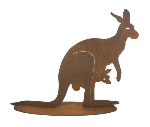 Large Kangaroo with Joey Stand Garden Art - Outback Creative Gifts