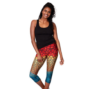 'Oceans Edge' Womens 3/4 Length Leggings - Outback Creative Gifts
