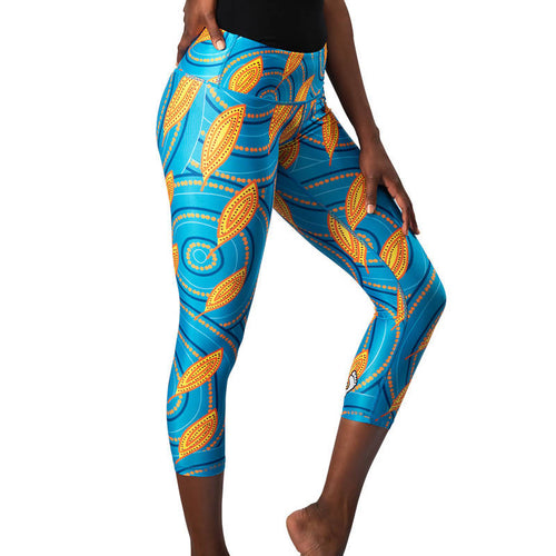 'Medicine Leaves' Womens 3/4 Length Leggings - Outback Creative Gifts