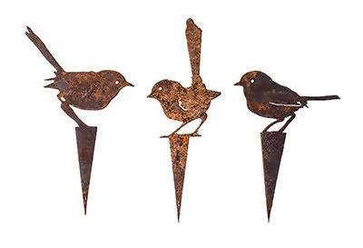 Three Fairy Wren Wedge Stake Set - Garden Art - Outback Creative Gifts