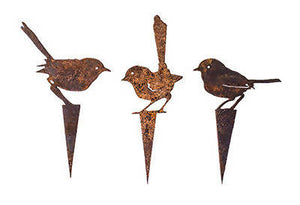 Three Fairy Wren Wedge Stake Set - Metal Garden Art - Outback Creative Gifts