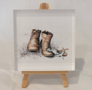 Crystal Block - 'Boots' - Outback Creative Gifts