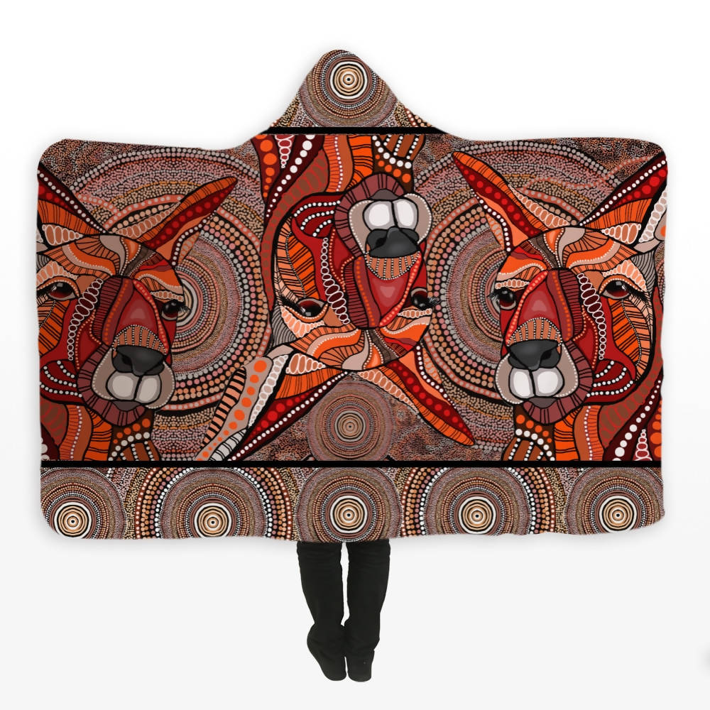 **SOLD OUT**Aboriginal Design Kangaroo Hooded Blanket - Outback Creative Gifts