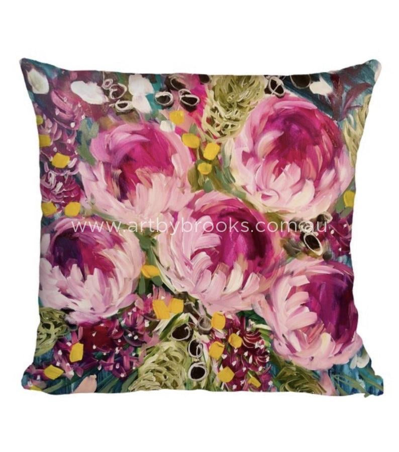 MIDNIGHT PEONY - BESPOKE CUSHION - Outback Creative Gifts