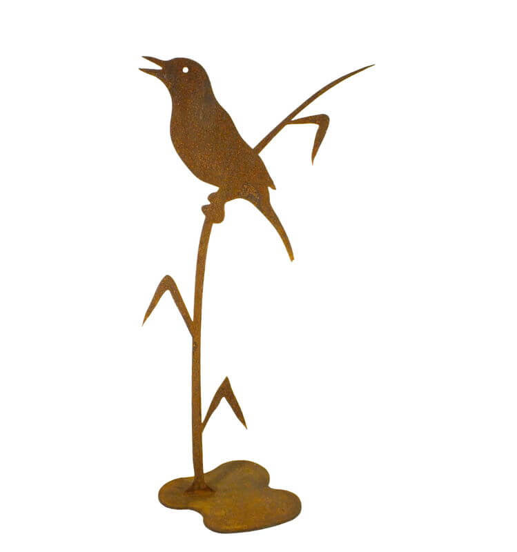 Bird on Reed Stand Garden Art - Outback Creative Gifts