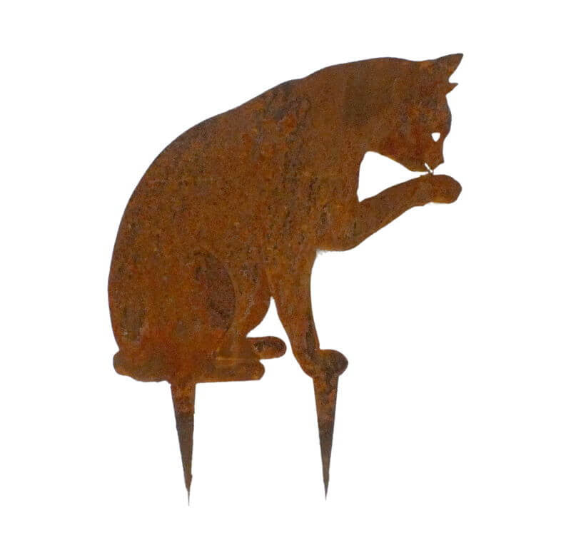 Cat Licking Paw Wedge Stake Garden Art - Outback Creative Gifts