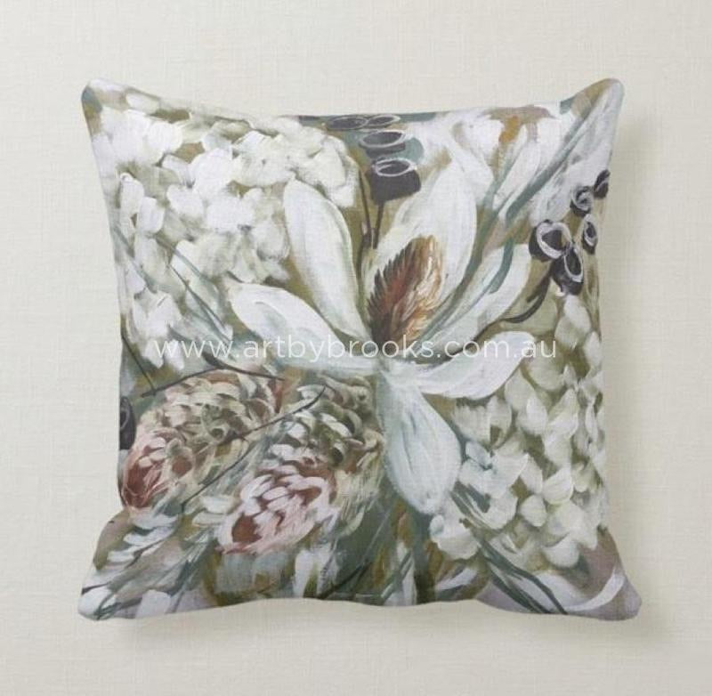 MAGNOLIA AND BANKSIA - BESPOKE CUSHION - Outback Creative Gifts