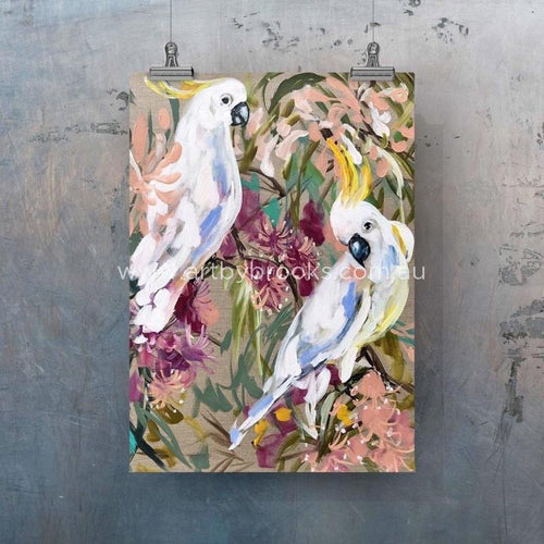 """White Cockatoo And Gum"" Tea Towel - Outback Creative Gifts"