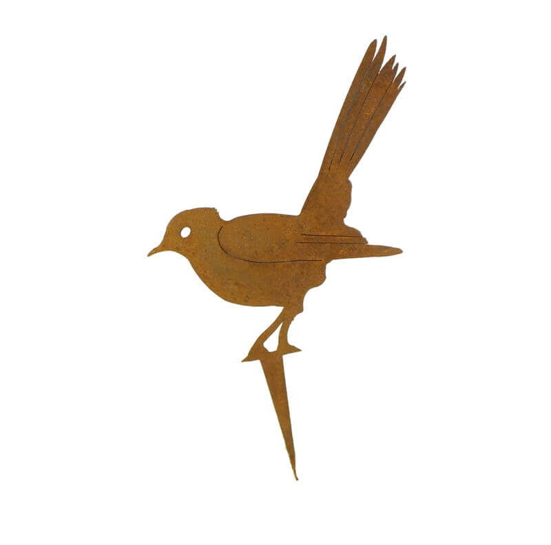 Willie Wagtail Stake Garden Art - Outback Creative Gifts