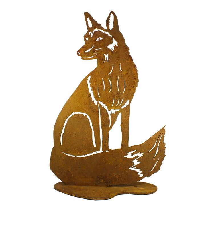 Sitting Fox Stand Garden Art - Outback Creative Gifts