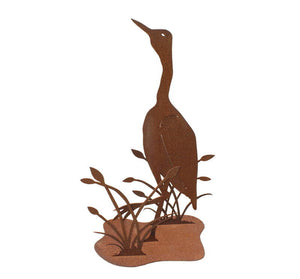 Brolga and Reeds Stand Garden Art - Outback Creative Gifts
