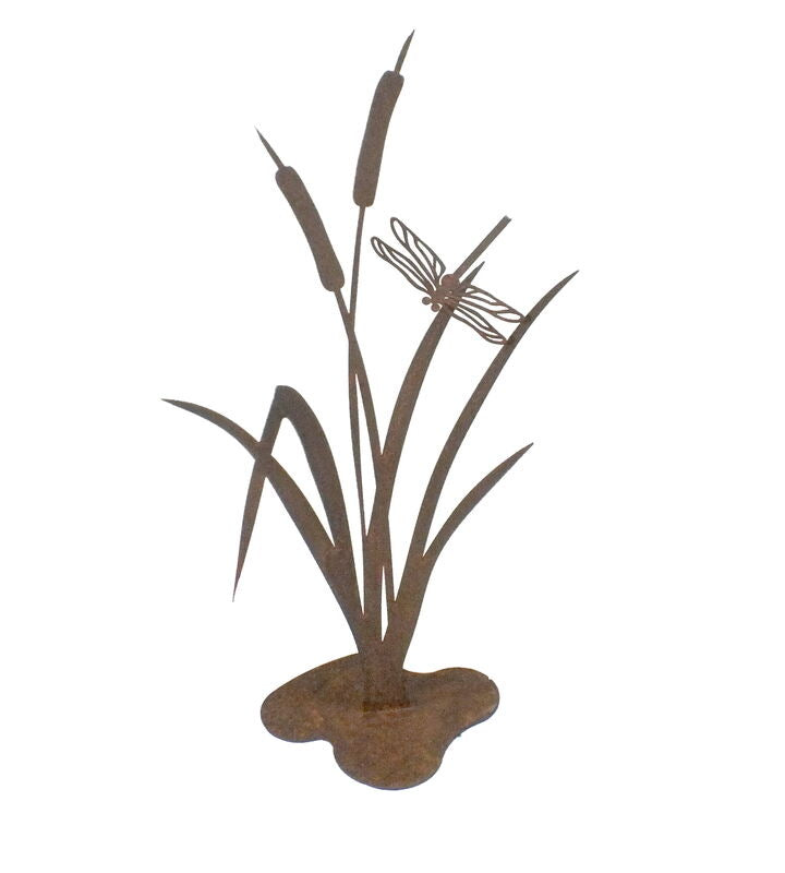 Bullrush with Dragonfly Stand Garden Art - Outback Creative Gifts