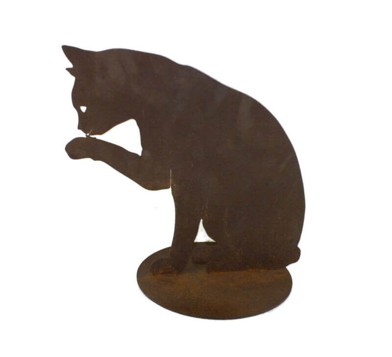 Cat Licking Paw Medium Stand Garden Art - Outback Creative Gifts