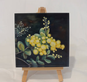 Crystal Block - 'Wattle Blossom' - Outback Creative Gifts