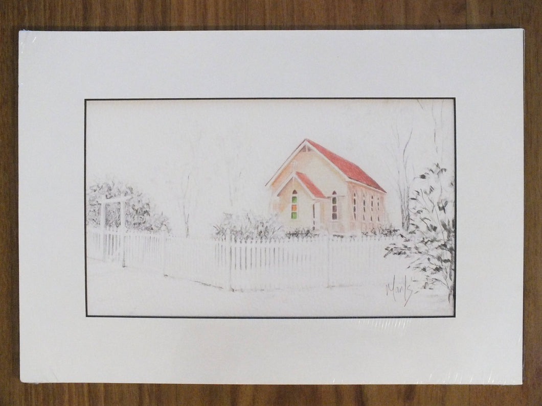 Matted Print - 'Heritage Church' - Outback Creative Gifts