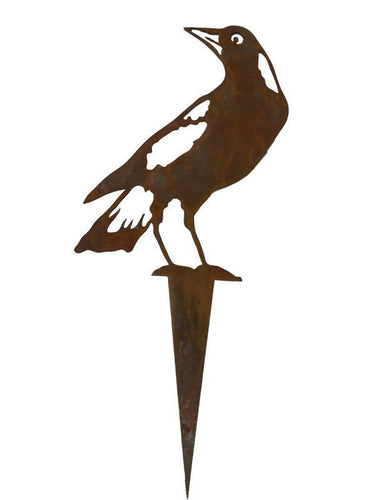 Magpie Wedge Stake 2 Garden Art - Outback Creative Gifts