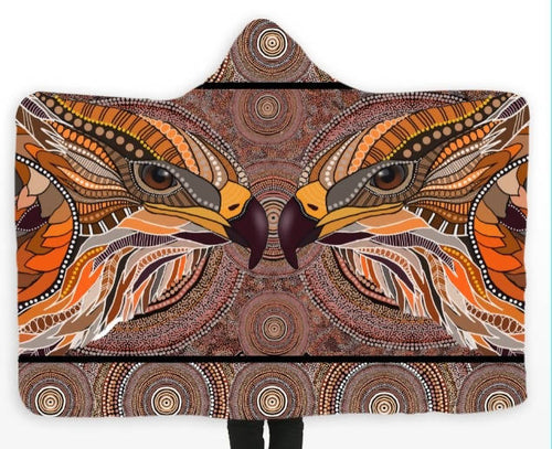 **SOLD OUT** Aboriginal Design Eagle Hooded Blanket - Outback Creative Gifts