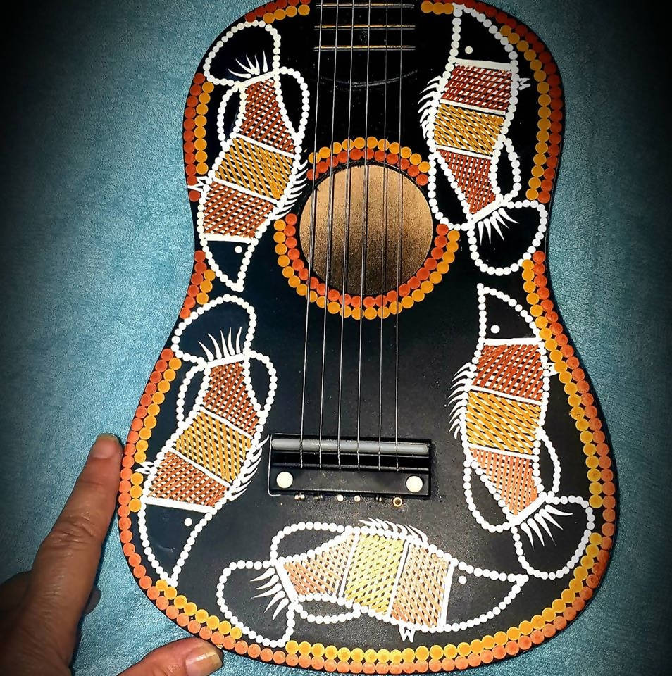 BLACK MINI GUITAR WITH BARRAMUNDI DESIGN - Outback Creative Gifts