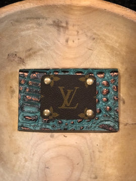 LV Credit Card Wallet- Turquoise Copper Croc
