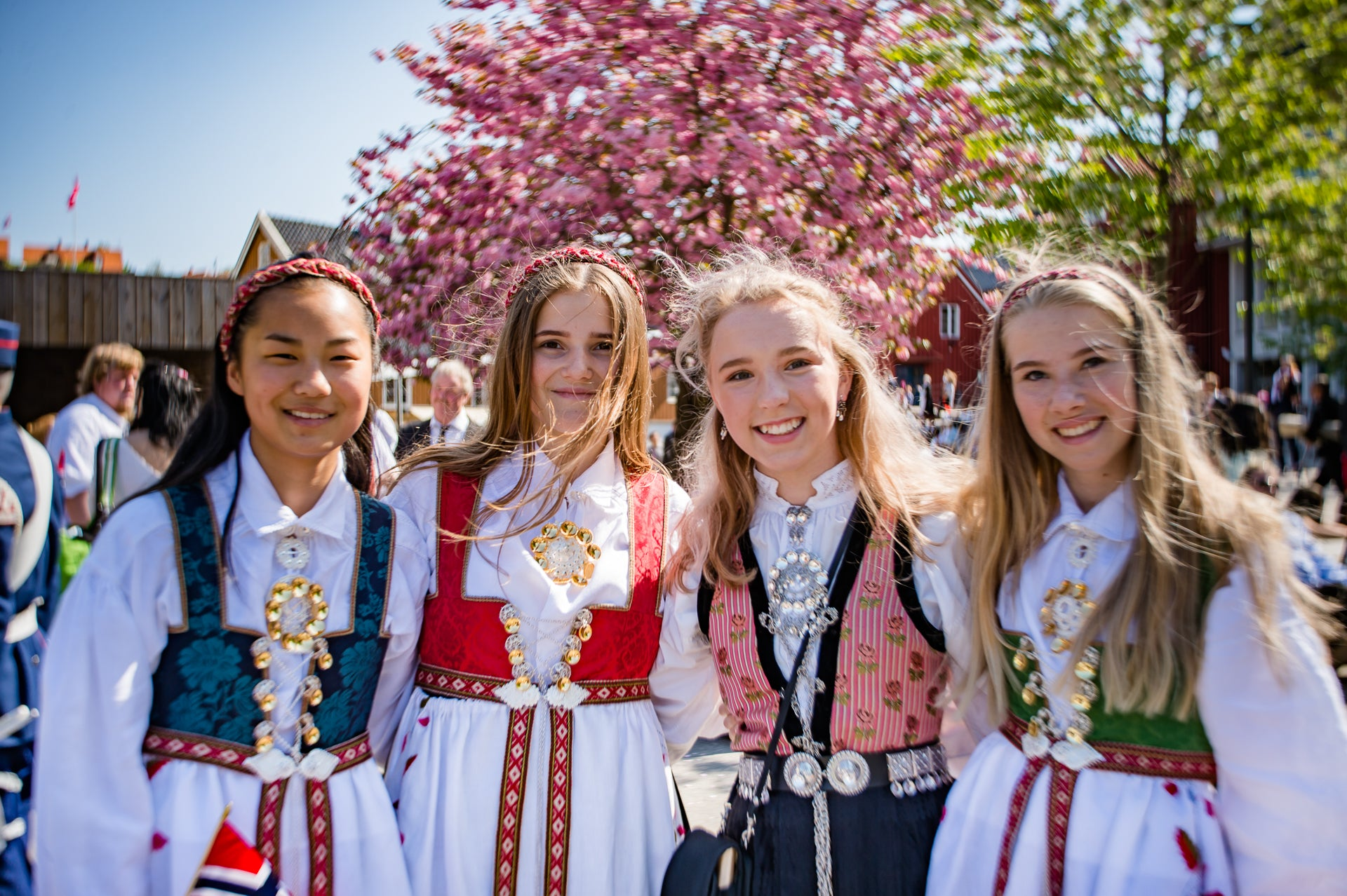 Norwegian girls in traditional clothes spring celebration Traveling Burnside Project Birgit Fostervold