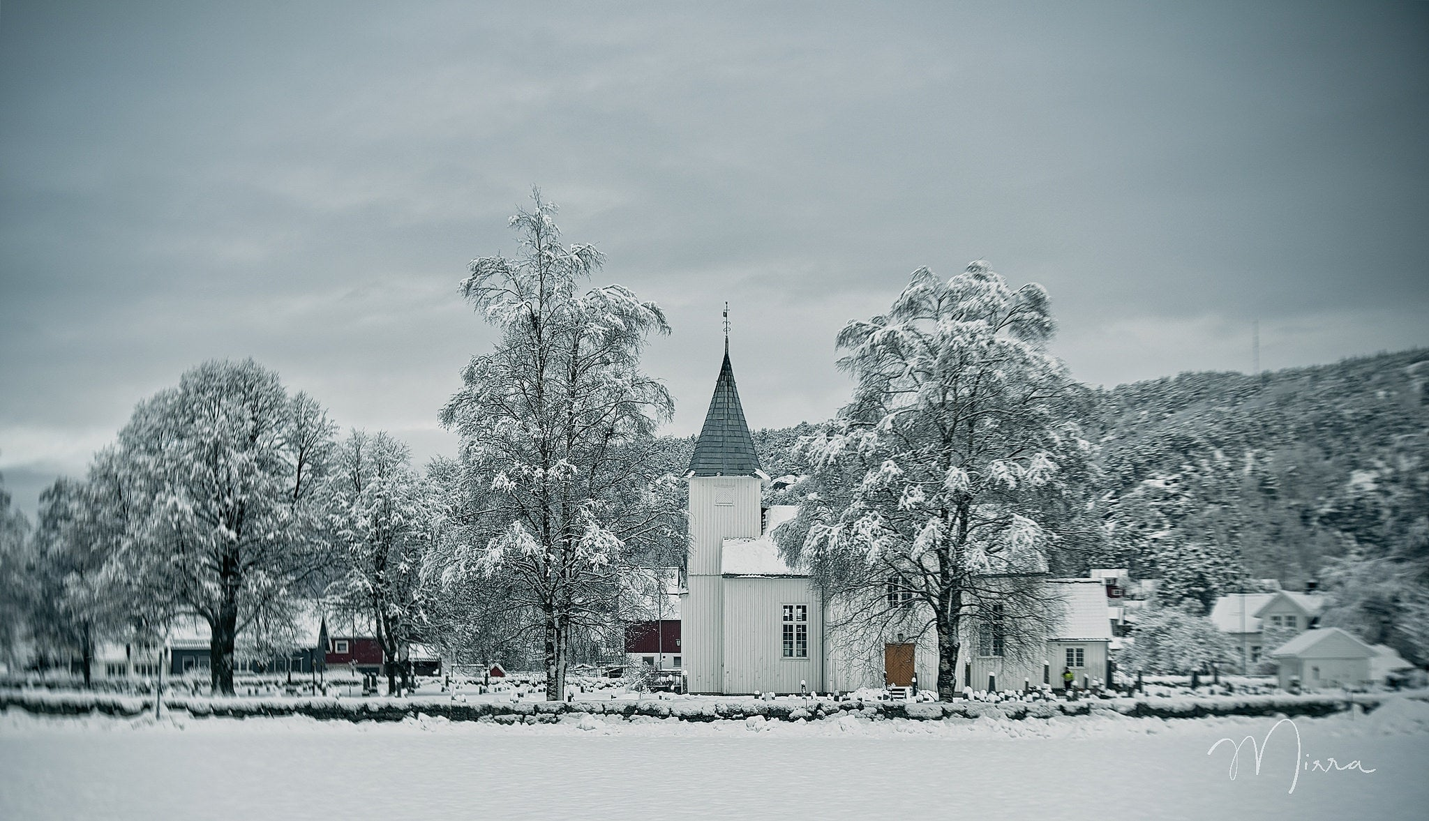 snow covered ground white church snowy trees winter scene landscape photography Lensbaby featured photos