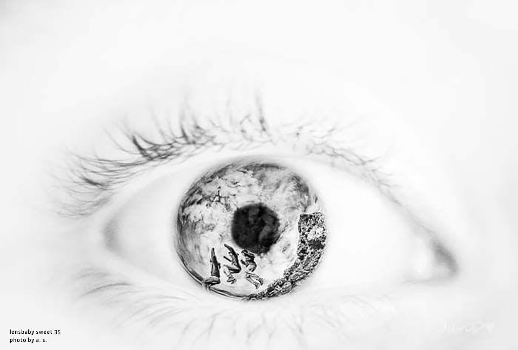 close up eye iris eyelashes double exposure jumping from rock black and white lensbaby manifesto struggle