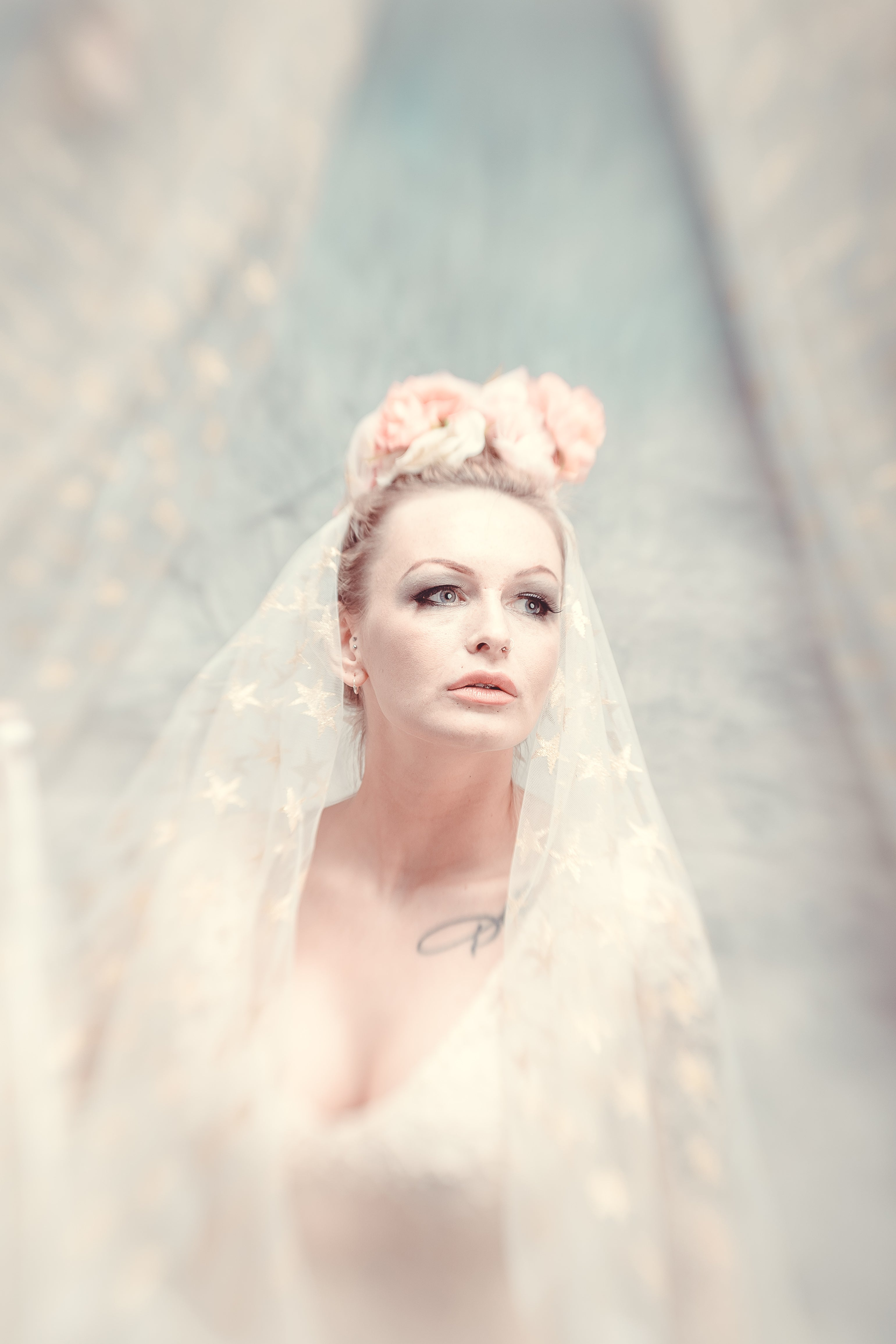 blonde bride with white veil white dress dark makeup emotional face fashion photography Lensbaby journey story Khandie