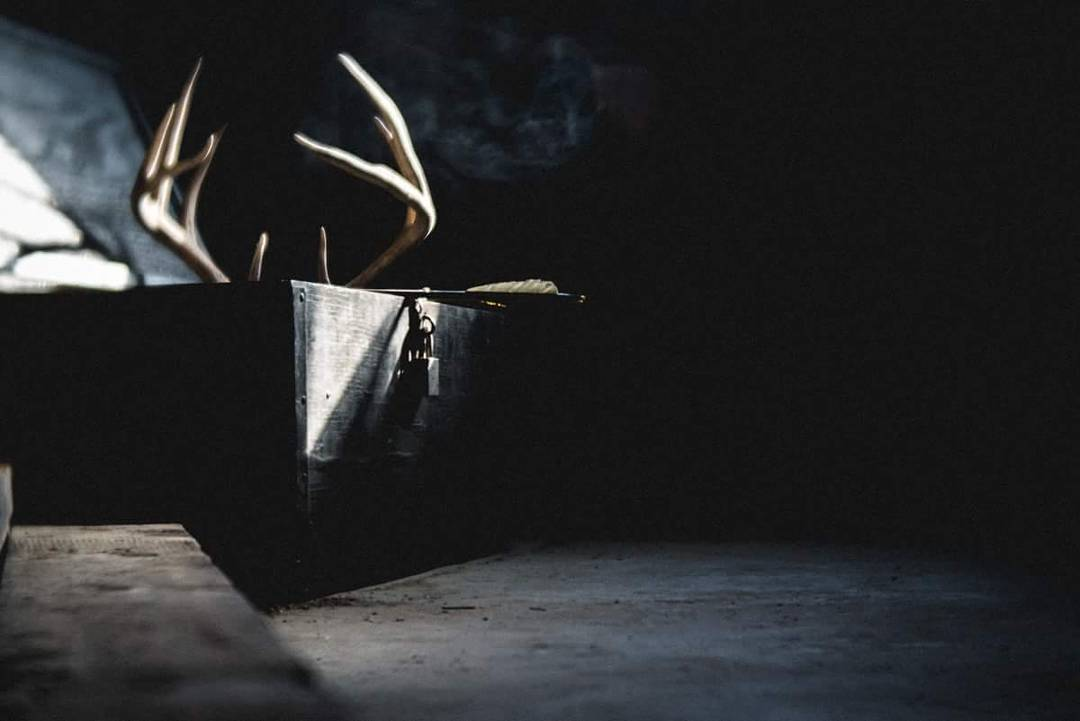 antlers in a box with hanging lock dark room scene natural beam of light angee manns Lensbaby featured photos