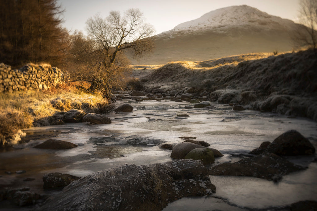 glowing landscape river ice mountain snowcapped trees landscape Lensbaby featured photos