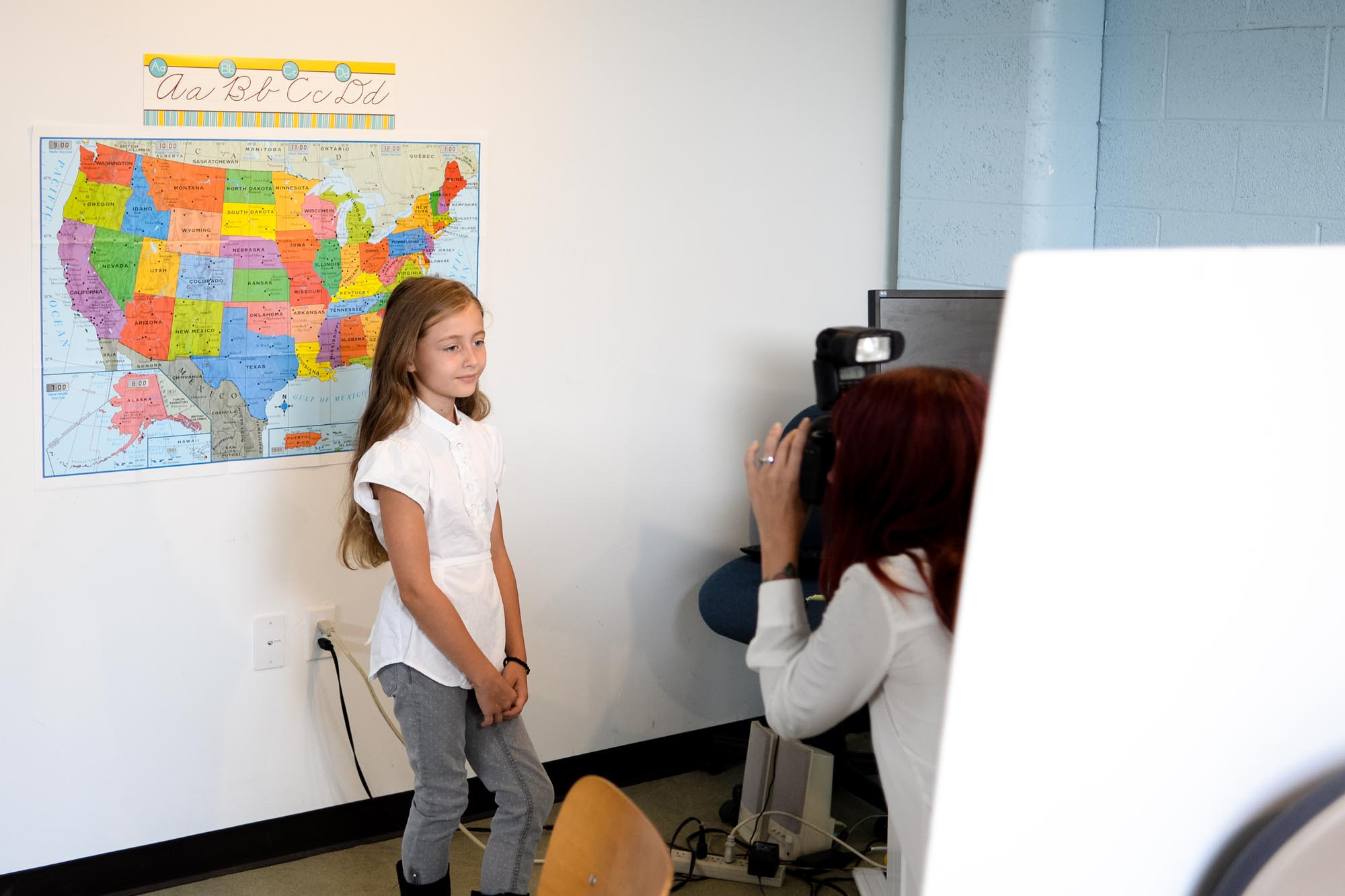 Behind the scenes back to school home photography set up