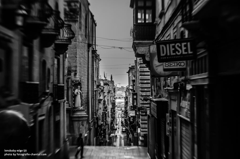 black and white street photography diesel seiko signs narrow streets Lensbaby Photo Challenge